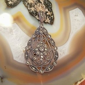 Vintage Silver marcasite hinged pendant